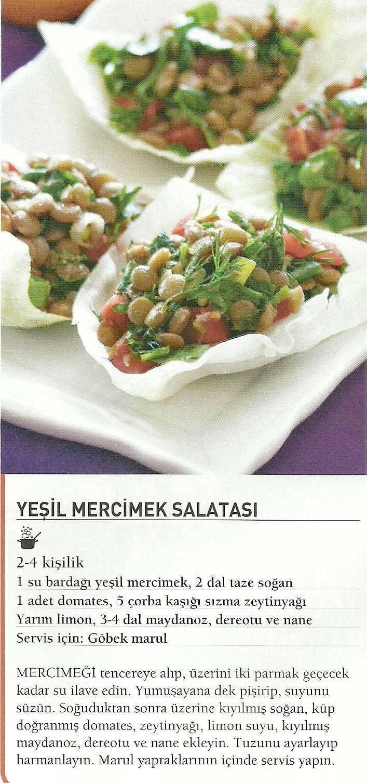 Yesil mercimekli salata