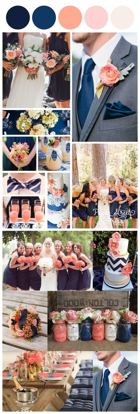 Best 25 peach wedding colors ideas on pinterest peach for Navy blue wedding theme ideas