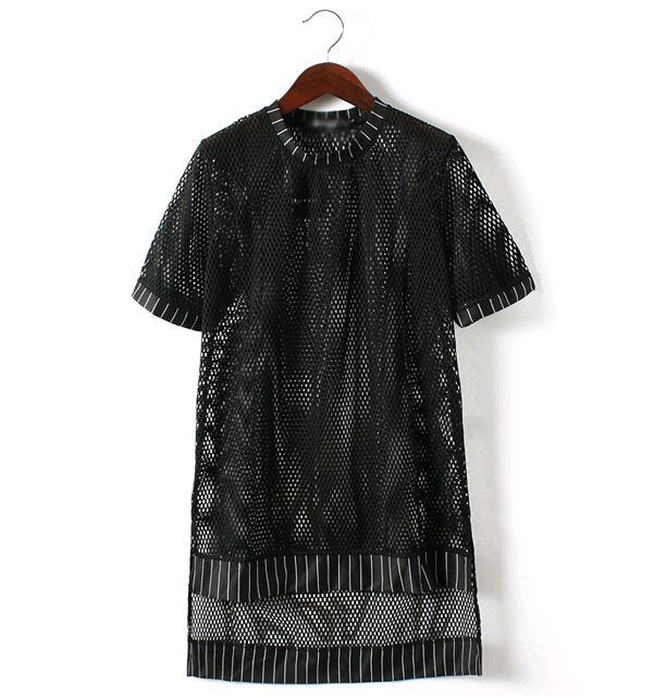 ==> [Free Shipping] Buy Best 2015 New Fashion Rock See Mens See Through Shirts Sexy Mesh T Shirt Men Brand Tops Tee Designer Longline Mens T Shirts Black Online with LOWEST Price | 32466880690