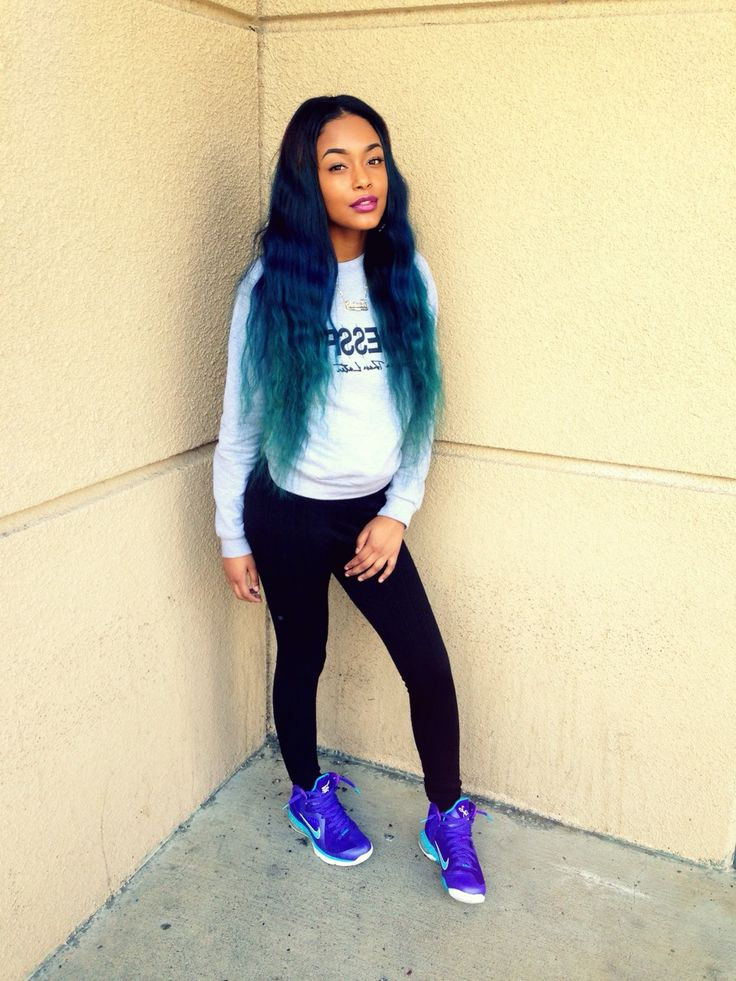 blue hair black girl ideas