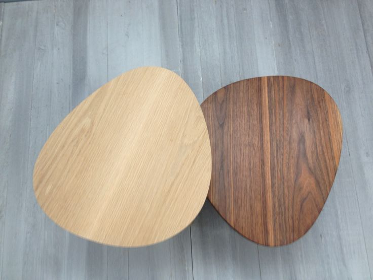 Pebble side tables in American walnut and oak by chris Colwell design