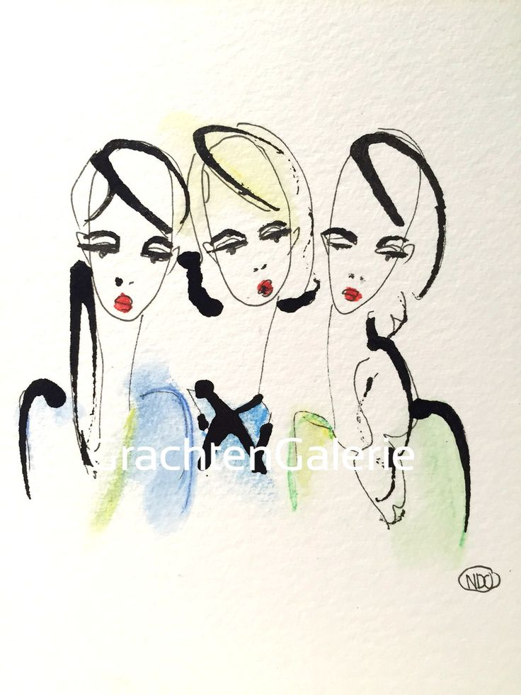 Noortje den Oudsten | Lady present 4 | illustratie | kunst | mode | vrouwen | aquarel | kunstcadeaus | illustration | art | women | presents