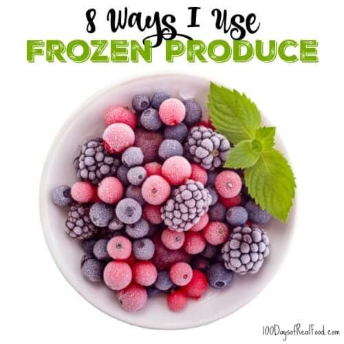 8 Ways to Use Frozen Produce, from100 Days of Real Food - Until fresh fruits and vegetables come into season, use frozen produce to keep your family meals delicious and healthy.