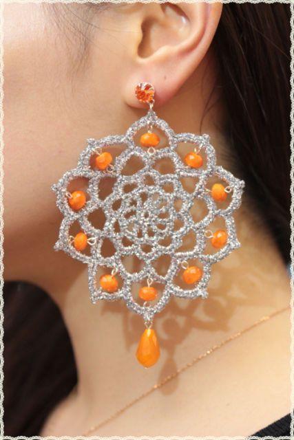 coppia orecchini in pizzo Uncinetto e pietre e perla cristalli HANDMADE | eBay