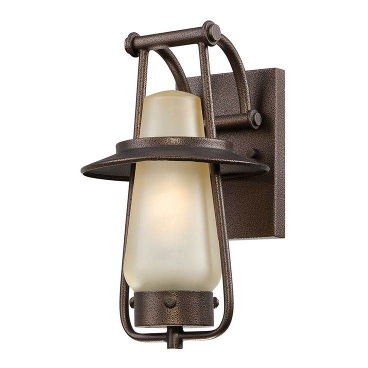 Outdoor Wall Light with Beige / Cream Glass in Flemish Bronze Finish at Destination Lighting