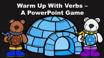 """Warm Up With Verbs - A PowerPoint Game.  This """"Snow Bears"""" themed game introduces and reviews the concept of basic verbs as action words."""