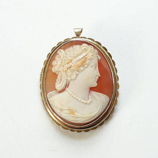 Antique Carved Shell Cameo Pendant Brooch Classical Woman Sterling Silver Gold Vermeil by redroselady on Etsy