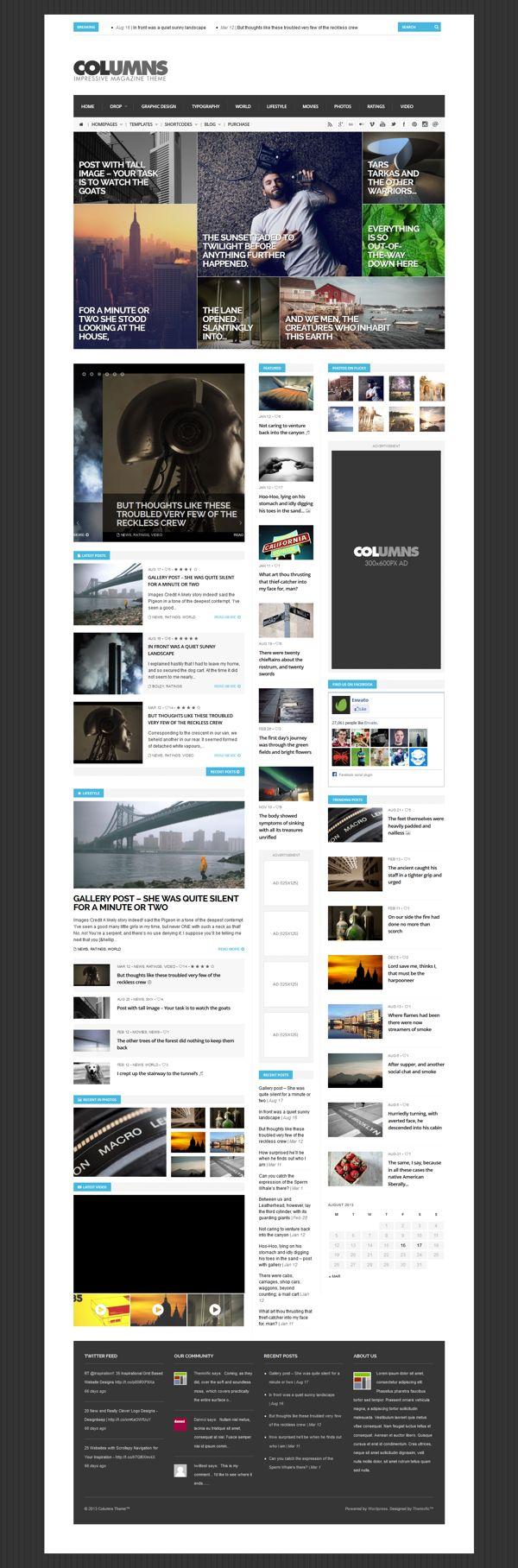Columns - Magazine & Blog Template by WordPress Awards , via Behance