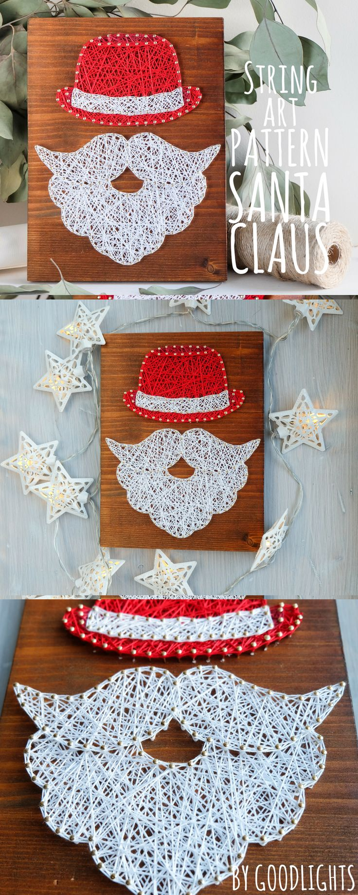 Easter string art pattern printable, Christmas Santa Claus decor DIY template and tutorial, string art craft kit for kids and adults