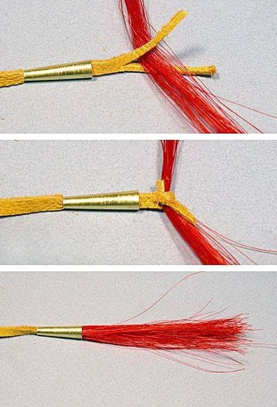 How to attache horse hair.