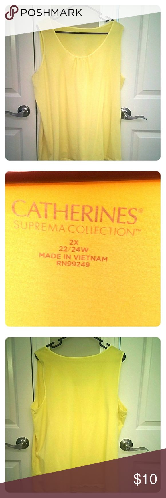 Catherine's Suprema Collection tank top - Yellow Comfortable tank top from the Supreme Collection.  Very comfortable, gently worn, once. 22/24W 2X. Wear it casual or with a blazer jacket it's very versatile. Catherines Tops Tank Tops