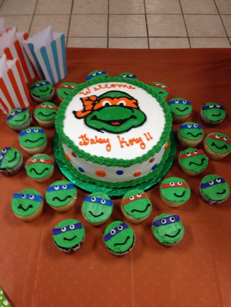 Perfect Ninja Turtle Baby Shower Cake. IF SHE HAS A BOY
