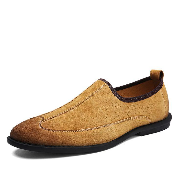 Hommes Chaussures en Cuir Printemps Automne Hollow-Out Mocassins Respirant et Slip-Ons Chaussures de Bureau Occasionnel Papa Chaussures Noir, Brun (Couleur : Une, Taille : 39)