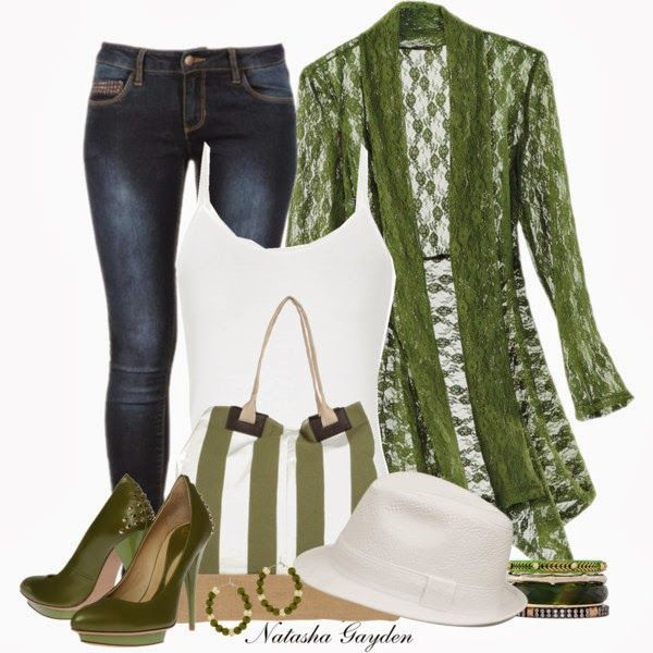 Casual Outfit: Hats, Sweaters, Style, Green Lace, Lace Jackets, Clothing, Fashionista Trends, Fabrics Bags, Casual Outfits