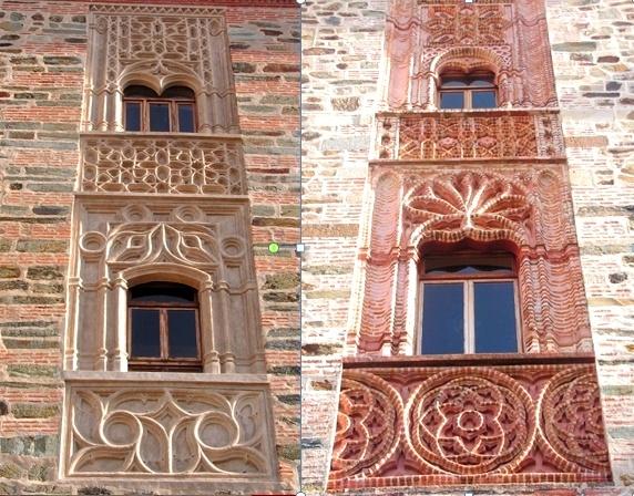 Monasterio de Guadalupe, Cáceres. Patrimonio de la Humanidad. Filigrana mudéjar de ladrillo aplantillado en la fachada de poniente o... como bordar con ladrillos.