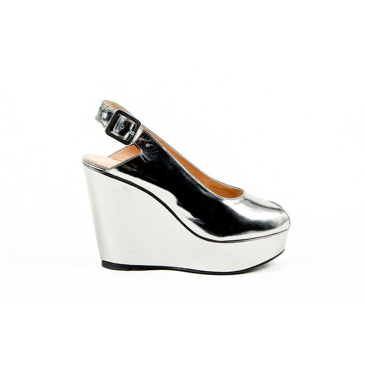 Silver 36.5 EUR - 6.5 US Robert Clergerie Paris Womens Slingback Wedge Sandal BUSTYMA NEWLAM GRIS DBL PDR