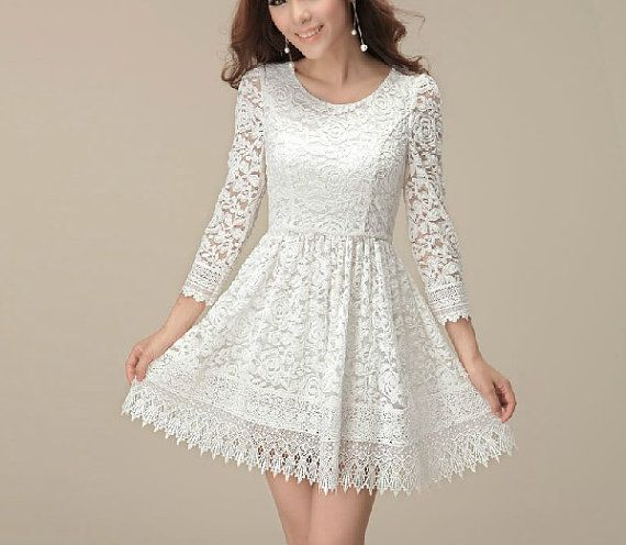 Fashion White A Dress, Women Long Sleeve Lace Dress, Special Occasion High Knee Dress, Wedding Party Dress,