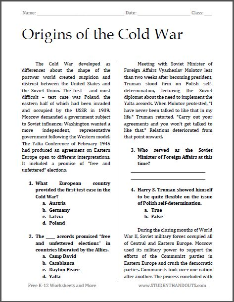 Origins of the Cold War | Free printable reading with questions (PDF file) for high school American History teachers and students.