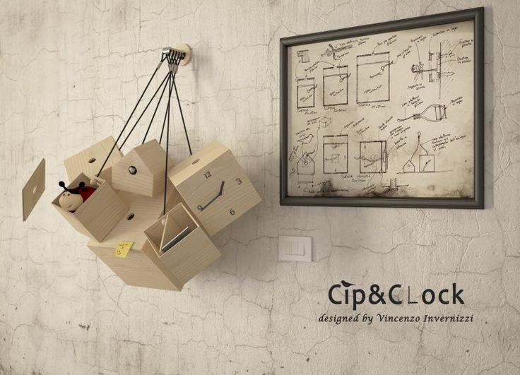 Formabilio - Cip&Clock è una serie di contenitori in legno appesi. Uno di questi, oltre ad essere contenitore, ospita un Clock mentre un altro, di forma non quadrata, ospita il Cip. Questi ultimi hanno un cavo di collegamento comune per connettere elettricamente i due dispositivi. Tutte gli altri sono semplici scatole in legno, di tre formati differenti, appese ad un cavo. Ogni supporto a parete può ospitare un massimo di 5 elementi.