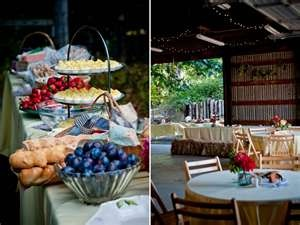 Casual outdoor wedding reception with buffet-style dining   OneWed