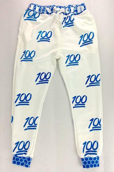 Blue 100 Score Emoji Jogger Pants