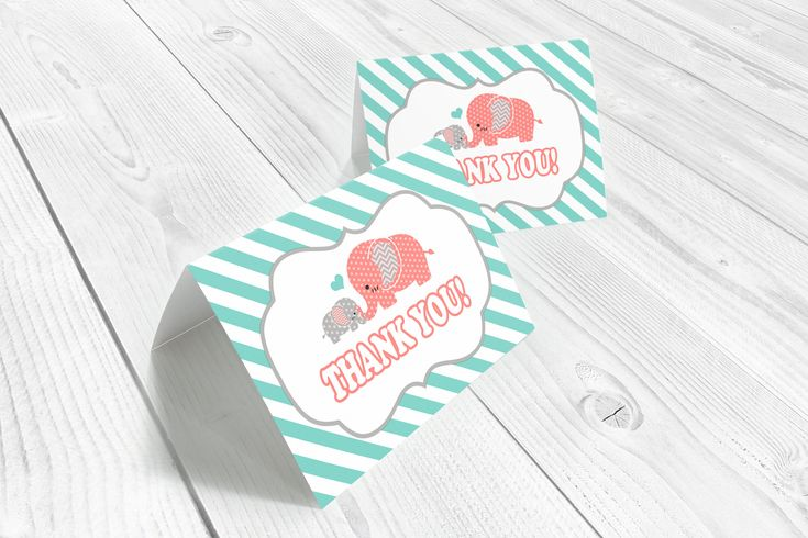 Elephant thank you cards, folded card template, elephant baby shower, coral, teal, gray, folded cards, printable, instant download by WolcottDesigns on Etsy
