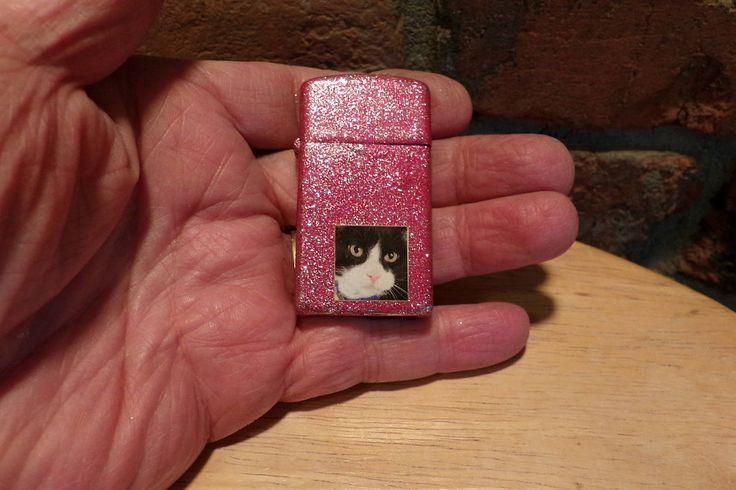 Zippo, slim line zippo, upcycled zippo, painted zippo, pink zippo, pink sparkle zippo, cat lighter by Morethebuckles on Etsy