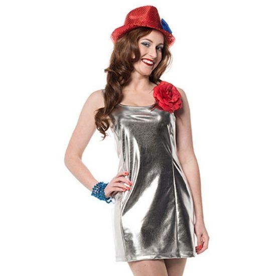 Zilveren disco stretch jurkje voor dames. Kort feestjurkje in de kleur zilver. Voor zilverkleurige accessoires kunt u ook in deze webshop terecht.