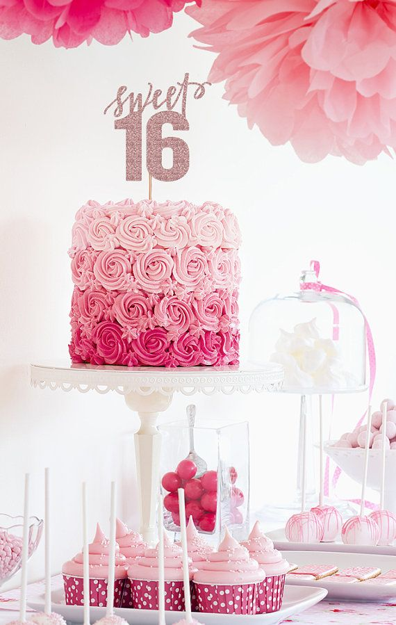 Sweet 16 Sixteenth Birthday Glitter Cake by hazelpapercompany