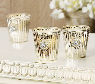 From Rachel Ashwell Shabby Chic...Set of 3 wonderful Mercury Glass Votives: Rachel Ashwell Shabby, Ashwell Shabby Chic, Glass Votives, Shot Glasses, Glass Stuff, Mercury Glass Marvellous, Chic Mercury