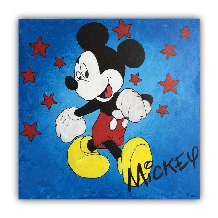 Een vrolijk schilderij van Mickey Mouse