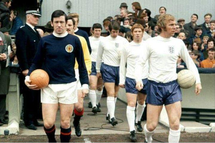 John Greig & Bobby Moore lead out at Hampden Park, 1970