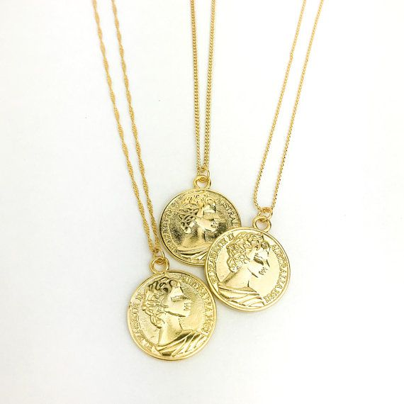 c03130cb5cadb Shiny Australian Coin Necklace, Medallion Necklace, Layering, Gold ...