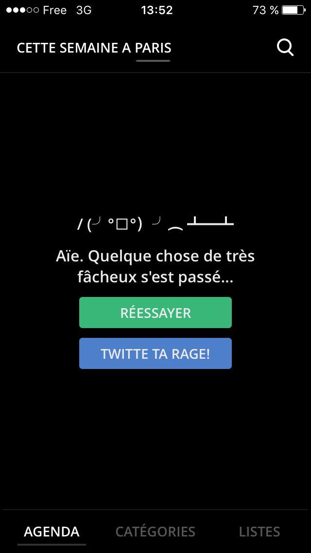 App iPhone DOJO - Message erreur
