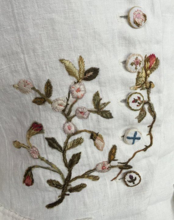 18th century Linen Waistcoat Hand Embroidery Outlander Historic ...