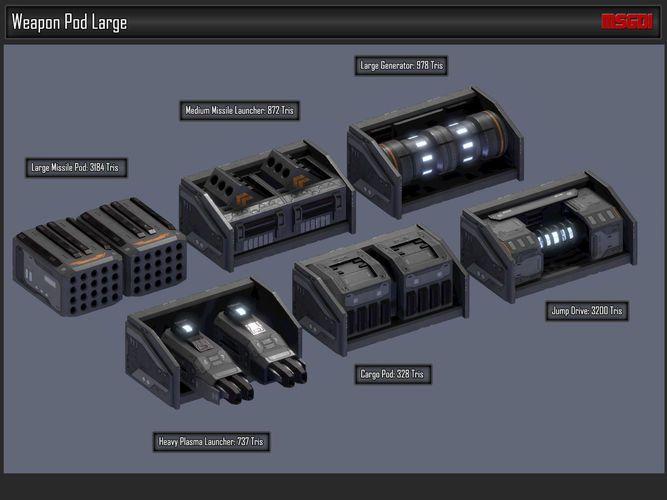 scifi modular spaceship weapons 3d model low-poly obj fbx 5