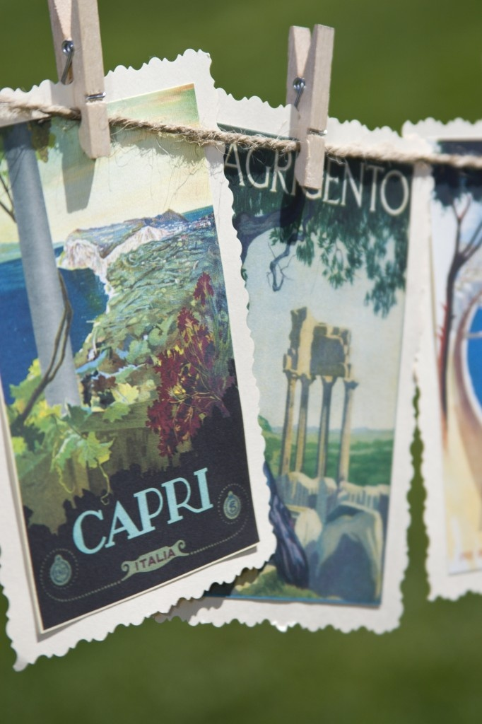 Italian city postcards as escort cards