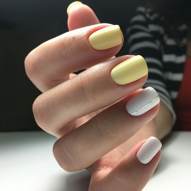 yellow and white nail design for black women