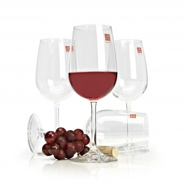 A timeless wine glass set containing four stemmed wine glasses, each capable of holding 18.5oz.