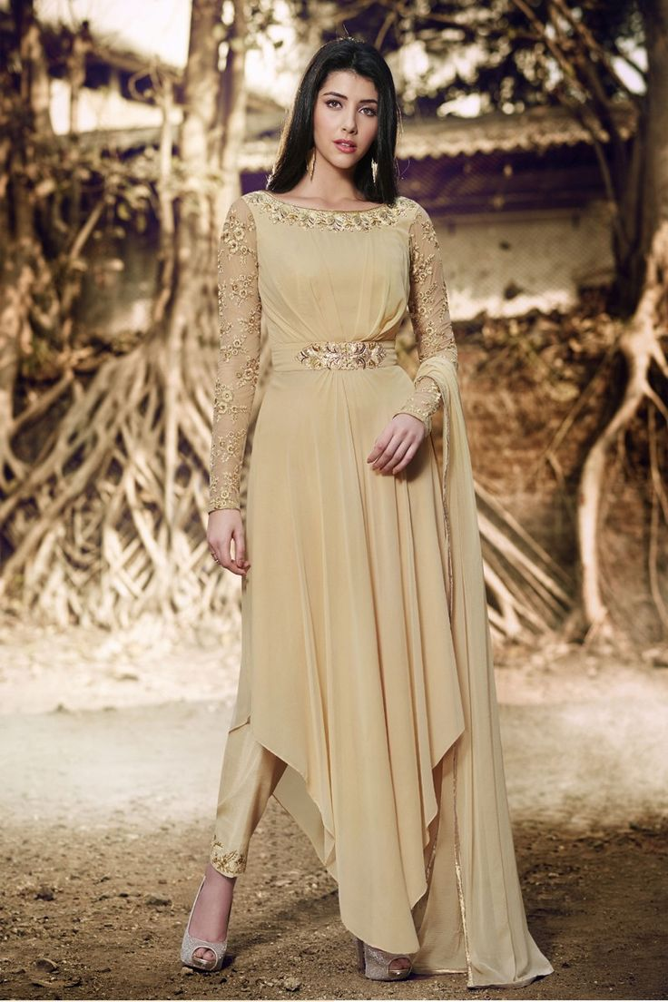 #beige #gown #suit #pleated #style #golden #simple #elegant #embroidery #georgette  #designer  #vcut #onepiece #dupatta #chiffon #online #shopping #salwarkameez #ranafashions #fashion