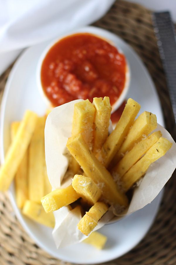 Crispy Baked Polenta Fries with Spicy Tomato Sauce ~ SO crispy on the ...
