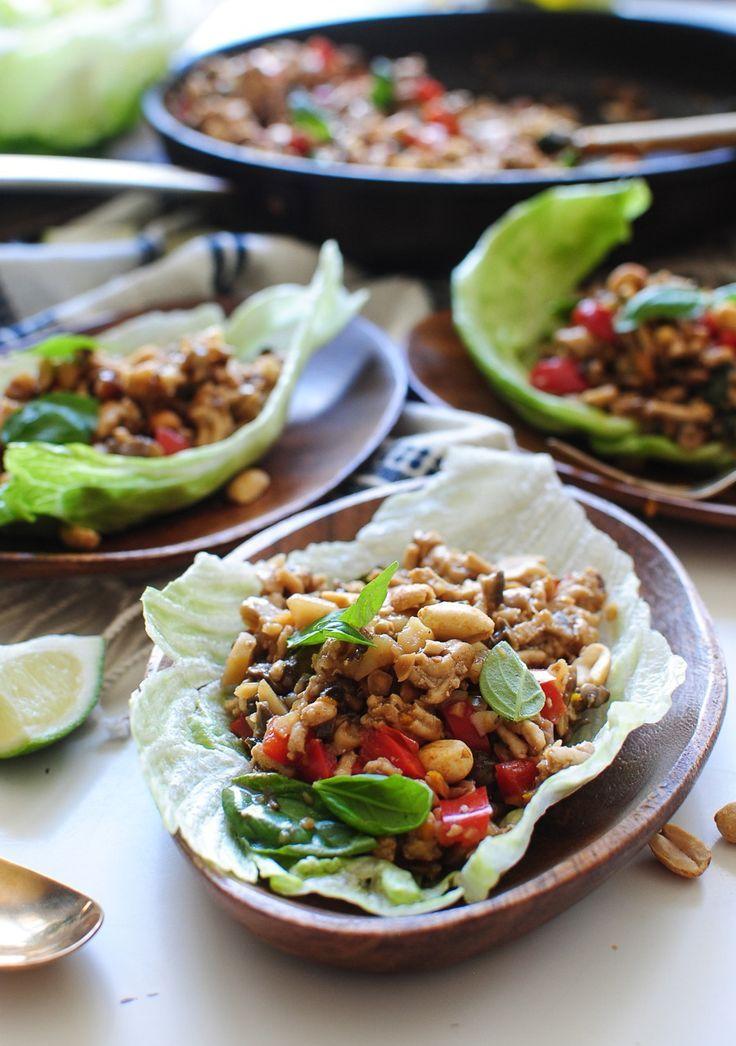 Asian Basil Chicken Lettuce Wraps from /bevweidner/