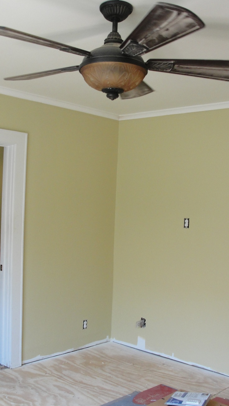 """Adams Gold"" on the walls in master bedroom.  (Please ignore the construction dust on the ceiling fan.)  Ceilings in master bedroom and bath are ""Ancient Ivory,"" and trim is ""Simply White"" throughout.: Ceiling Fans, Master Bedrooms"