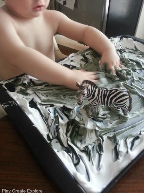 Play Create Explore: Zebra Shaving Cream Marbling Craft