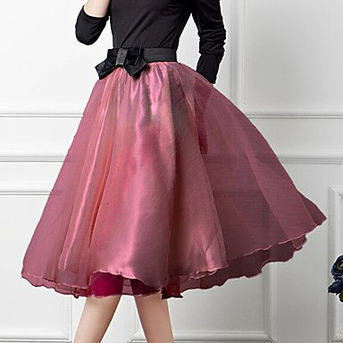Women's Vintage Casual Organza Inelastic Medium Midi Skirts 2015