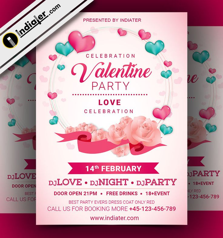 22 best Happy Valentines Day Party Invitation free Flyer PSD images ...