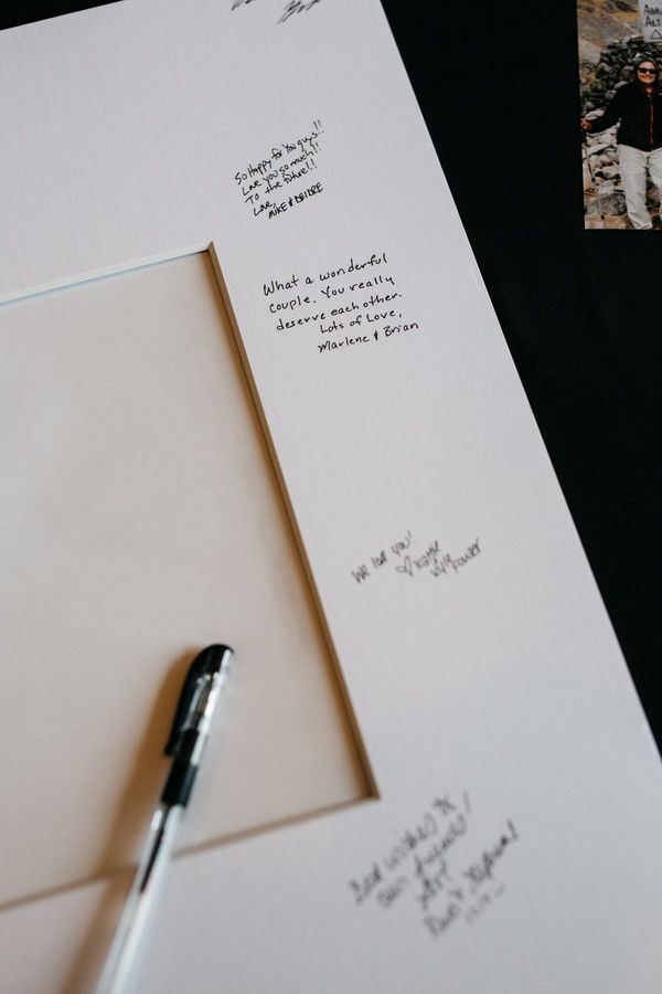 Wedding guestbook alternative idea - wedding guests signed a picture frame mat{Rebecca Ames Photography}