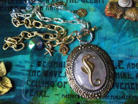 The Sea Siren's Muse  Sea Horse  and Rose Quartz by waternymph, $63.00