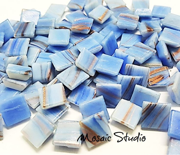 Blue Gold Thread Tiles 10x10x4mm x100pc by MosaicStudio1 on Etsy