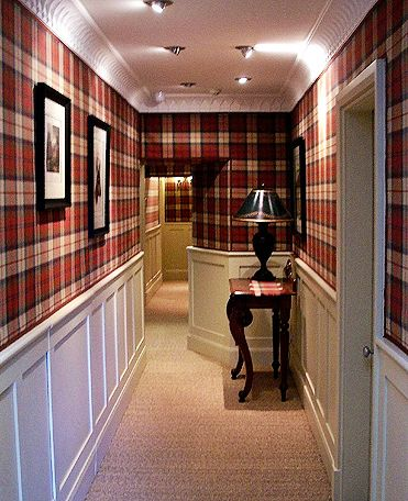 fabulous hallway with tartan wallpaper - this would be daring, but, if done right, spectacular